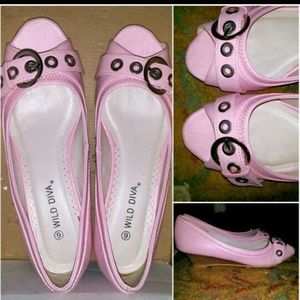 Shoes - Pink Leather Wedges